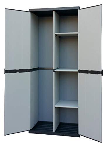 Adventa - Armario escobero de Resina con 2 Puertas, estantes Regulables (Interior/Exterior), Gris Negro, 68 x 39,5 x 168 cm