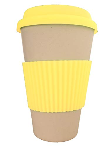 OLPRO Outdoor Leisure Products Reusable Bamboo Husk Fibre Coffee Cup Travel Mug Silicone Sleeve Plastic Free Fully Biodegradable Husk Breaktime Beaker Mug Yellow