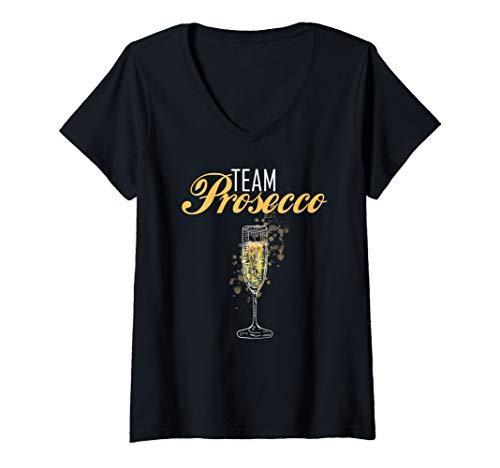Damen Team Prosecco | Blutgruppe Prosecco Geschenk | Prosecco T-Shirt mit V-Ausschnitt