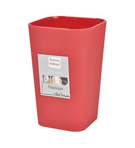Douceur d'Intérieur 6ASB226RO Gobelet de Salle de Bain Plastique Rouge 7 x 7 x 11 cm