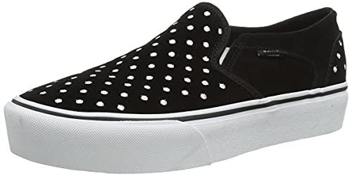 Vans Damen Asher Platform Suede Sneaker, Wildleder Punkte schwarz weiß, 39 EU