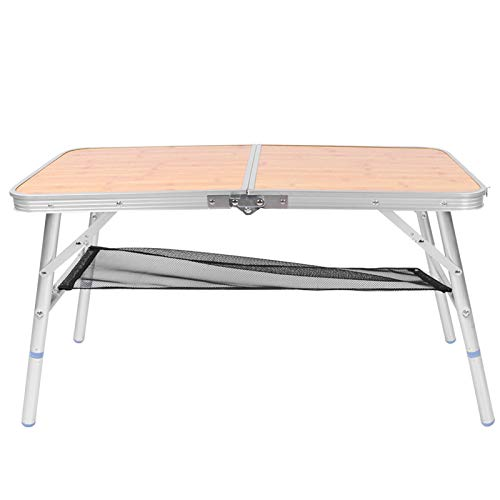 Germerse Camping Foldable Table, Lightweight Portable Stable Structure Adjustable Height Folding Table, Multifunctional Aluminium Alloy Picnic for BBQ