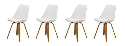 Tenzo Tequila 4er-Set Designer Stühle Ella, Polyurethan, Lederoptik, Weiß/Eiche, 54x48x82 cm
