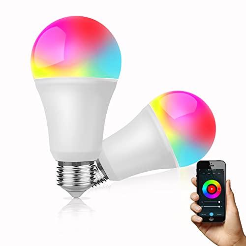 Alexa Glühbirnen Dogain E27 LED Smart Lampe, WLAN Mehrfarbige Dimmbare Birnen, App Steuern Kompatibel mit Alexa Echo, Google Home, kein Hub benötigt, LED Birne, Warmweiß/Kaltesweiß licht, 2 Stücke