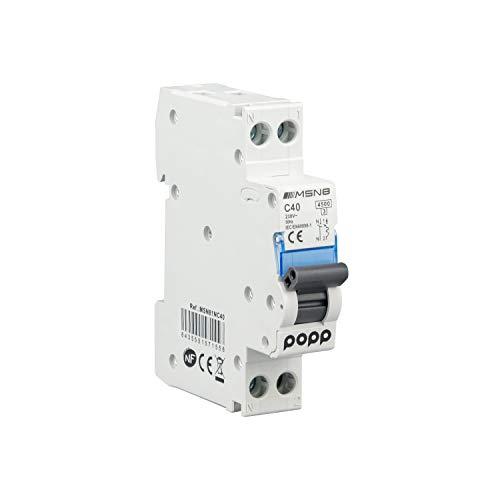 POPP Interruptor Automático Magnetotérmico industrial CURVA C DPN SERIE MSN81NC 6A 10A 16A 20A 25A 32A 40A (DPN, 40A)