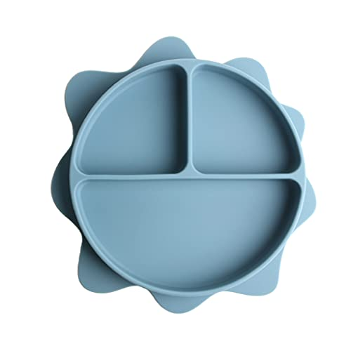 MONLEYTA Tazón de Ventosa para bebé Plato de Cena Dividido en Forma de Sol de Silicona sin BPA no tóxico Azul Oscuro