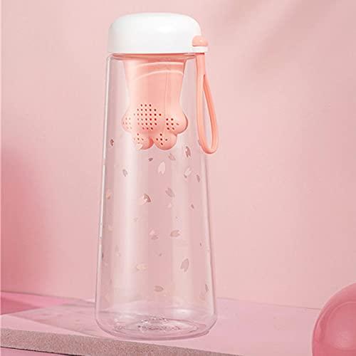Sports Water Bottle550Ml Plastic Kettle Pink Tea Making Tea Bottle Kettle Cute Girl Drink Transparent Pink 550Ml