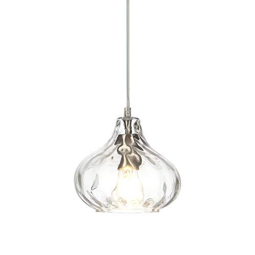 POPILION Chrome Industrial Glass Pendant Light ,Farmhouse Hanging Pendant Light Fixtures, Handblown Light for Kitchen Island Dining Room Club Hallway
