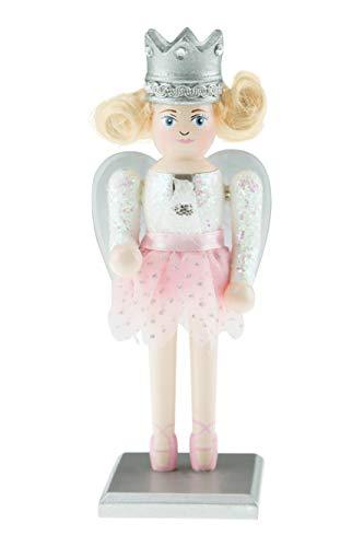 Clever Creations - Cascanueces rechoncho de Navidad - Figura Decorativa Tradicional - Hada de Azúcar - con Top Blanco Brillante, tutú Rosa Claro, Bailarinas y alas Transparentes y Plateadas - 18 cm