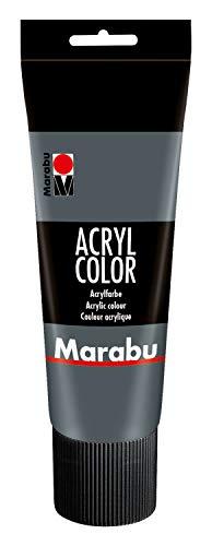 Marabu 12010025079 - Acryl Color dunkelgrau 225 ml, cremige Acrylfarbe auf Wasserbasis, schnell trocknend, lichtecht, wasserfest, zum Auftragen mit Pinsel und Schwamm auf Leinwand, Papier und Holz