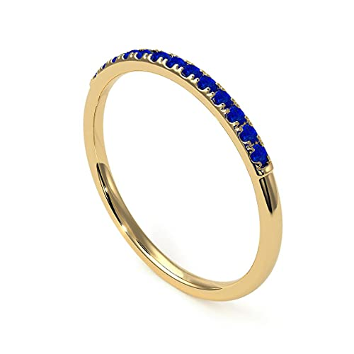Gemsonclick Anillo de Compromiso apilable de eternidad de lapislázuli Natural Anillo de Compromiso de Estilo Vintage con Piedras Preciosas chapadas en Oro de 18 Quilates 65