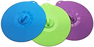 JJMG Silicone Bowl Lids Food Covers Food Grade, Reusable Airtight Suction Seal Covers for Pots, Pans, Cups, Skillets Containers Environment Friendly No Waste Plastic Wraps (Blue, Green & Purple)