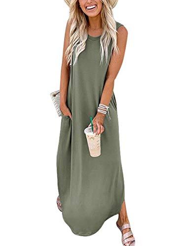 ANRABESS Women Dresses Sleeveless Split Long Maxi Beach Dress with Pockets A19ganlanlv-L