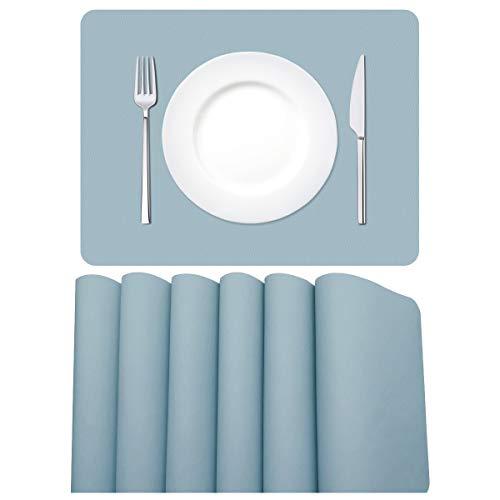 MORROLS Tischsets Abwaschbar, Tischset Leder 6er Set Waschbar rutschfeste Platzset für Zuhause Restaurant Speisetisch, 42x30cm, Hellblau.