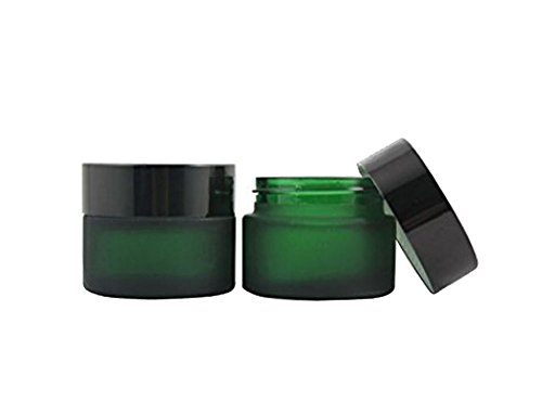 TOPWEL 30ML(1 OZ) Green Glass Empty Refillable Cosmetic Cream Jar Pot Bottle Container (2pcs) by TOPWEL
