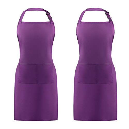 Syntus 2 Pack Adjustable Bib Apron Waterdrop Resistant with 2 Pockets Cooking Kitchen Aprons for Women Men Chef, Purple