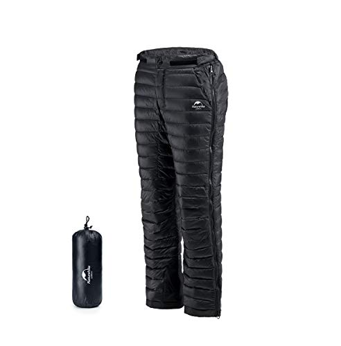 Naturehike Winter Goose Down Pants Thermal Warm Windproof Waterproof Down Trousers for Outdoor Camping Hiking Skiing (Black, M)