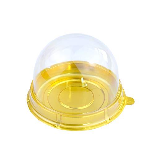 Wind Goal - Caja redonda de plástico transparente para tartas, 50 unidades, con tapa de plástico transparente dorado