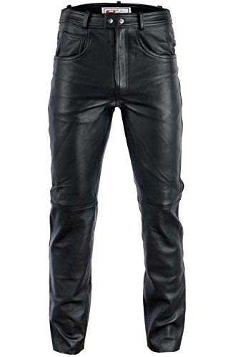 Radmasters Herren Lederhose lederjeans bikerjeans jeans hose aus echtleder Schwarz und Braun, 48/S, Schwarz