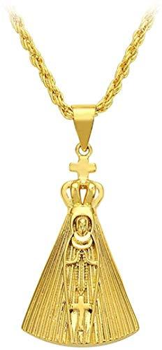 Zaaqio Collar Llamativo de Color Dorado, Collar con Colgante católico, joyería