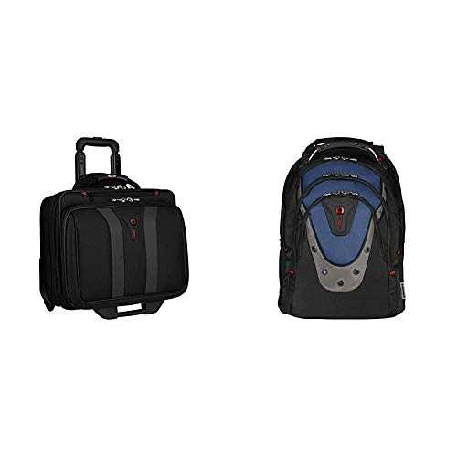 Wenger 600659 Granada 17 Inch Wheeled Laptop Case {24 Litre} & 600638 Ibex 17 Inch Laptop Backpack, Triple Protect Compartment with iPad/Tablet/eReader Pocket in Blue {23 Litre}