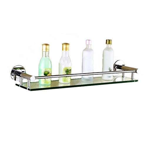 Badrumshylla, 304 rostfritt stål väggmonterad glashylla med krokar för kosmetikställ toalett ett lager spegel främre ram (storlek: A540 mm)