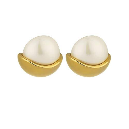QIN Korean model pearl spiral earrings model women's 14K electroplated jewelry