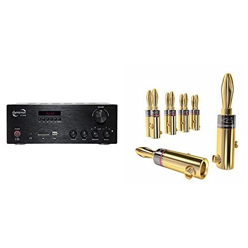 Dynavox Stereo Kompakt-Verstärker VT-80 schwarz, Anschluss-Terminals für 4 Lautsprecher, 25x18x9.5cm & KabelDirekt - Bananenstecker - 5 Paare - (Steckverbinder für Lautsprecherkabel bis 6mm²)