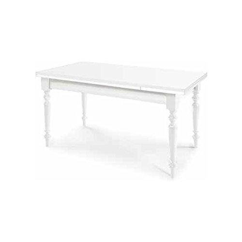 Table Extensible comportant 2 rallonges DE 40 cm, Style Classique, en Bois Massif et MDF avec Finition Blanc Mat - Dim.140 x 80