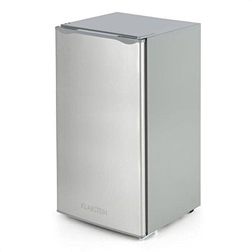 Klarstein Alleinversorger Nevera congelador - Clase A+, Control de Temperatura 5 Niveles, Bisagra Puerta Intercambiable, Nevera: 90 L, Congelador: 7 L, Puerta de Acero Inoxidable, Plata