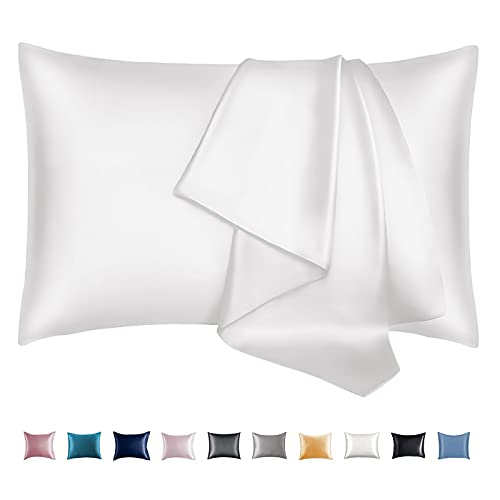 Leccod 2 Pack Silky Satin Pillowcase for Hair and Skin Cool Super Soft and Luxury Pillow Cases Covers with Envelope Closure (White, Standard: 20x26)
