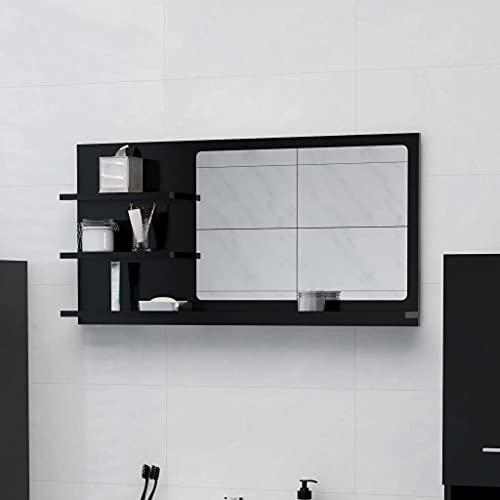 vidaXL Badspiegel mit 3 Ablagen Spiegelregal Wandspiegel Badezimmerspiegel Bad Spiegel Badezimmer Badmöbel Schwarz 90x10,5x45cm Spanplatte