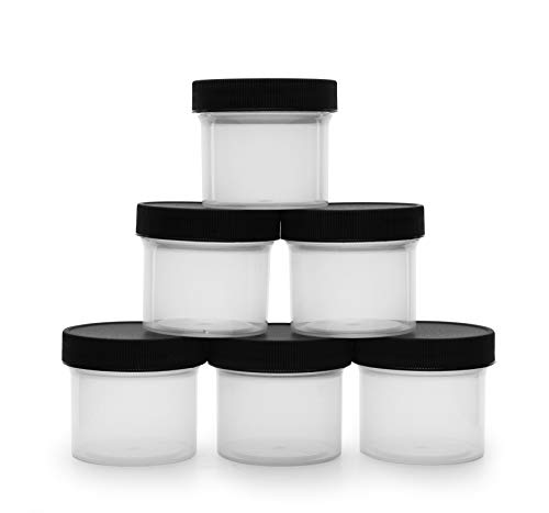 Salad Dressing Condiment Containers (6-Pack); 2-Ounce To-Go Plastic Mini Food Storage Jars for Lunch Boxes; Carry Up to 4 Tablespoons