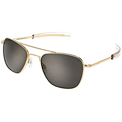 Randolph Engineering quadratische Piloten Sonnenbrillen in 23 k Gold grau polarisiert AF058 55 Grey Polarised Gold