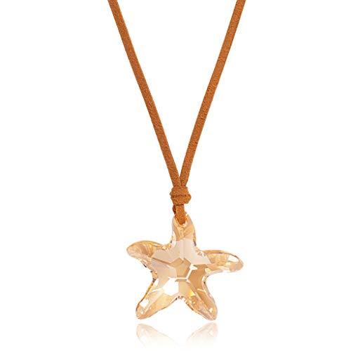 Collar de Mujer Colgante de cristal sintético imitación 25' cadena del suéter de la cuerda Cuero Forma estrellas de mar de cristal colgante collar con el collar decorativo Collares Pendientes