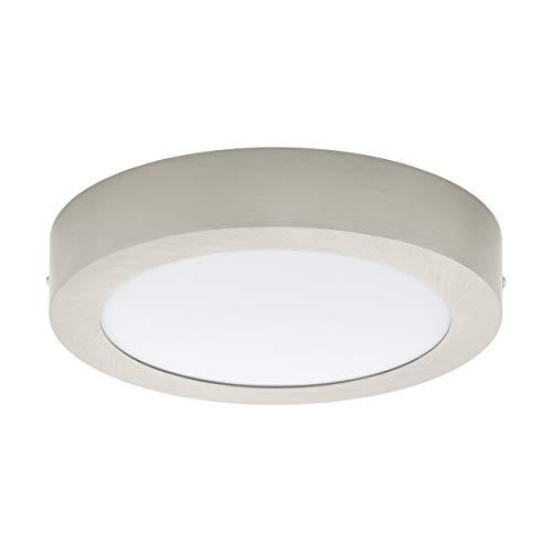 EGLO LED Deckenleuchte Fueva 1, 1 flammige Deckenlampe, Material: Metallguss, Kunststoff, Farbe: Nickel matt, weiß, Ø: 22,5 cm, warmweiß