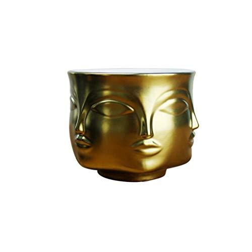 Golden Ceramic Face Shape Succulent Plants Pot Mini Bonsai Planter Cactus Flower Tank Home Decor Storage Craft Flower Pots Home Decor