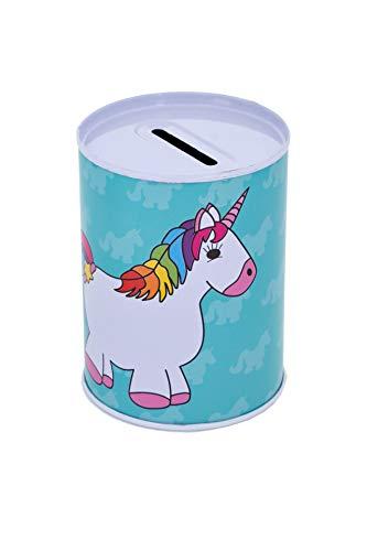 2 huchas pequeñas con forma de unicornio – Hucha de chapa segura – Cerrado fijo, solo se puede abrir con abrelatas