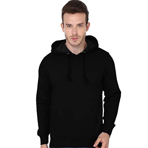 STATUS MANTRA Cotton Round Neck Large Full Sleeve Black Hoodies for Mens with Front Pocket for Men's