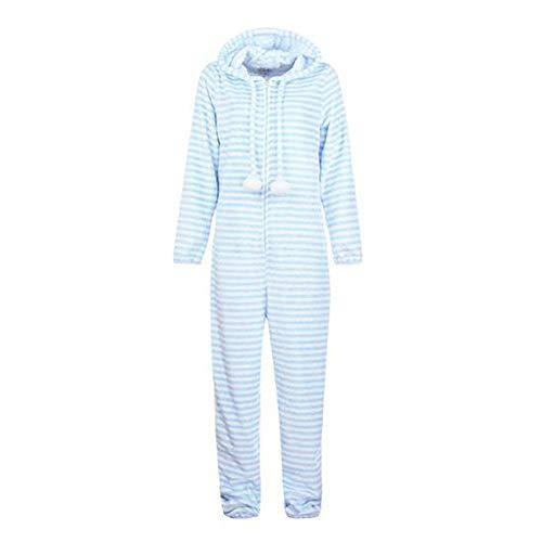 YUHUALI Pyjamas Damenmode Gestreifte Kapuze Flanell Flanell Langarm Jumpsuit Sportswear Jumpsuit