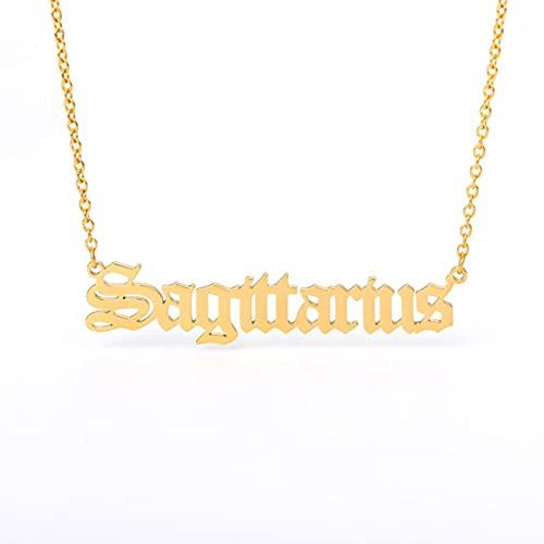 Collar de Constelaciones de Letras con Signo del Zodiaco para Mujeres, Hombres, Escorpio, Sagitario, Capricornio, Acuario, Regalo de cumpleaños, 45 cm