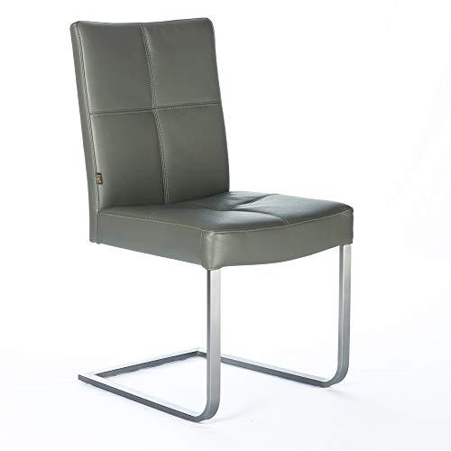EMAN Möbel Freischwinger Leder-Stuhl Libero | Besucher-Stuhl Büro-Stühle Edelstahl - Leder