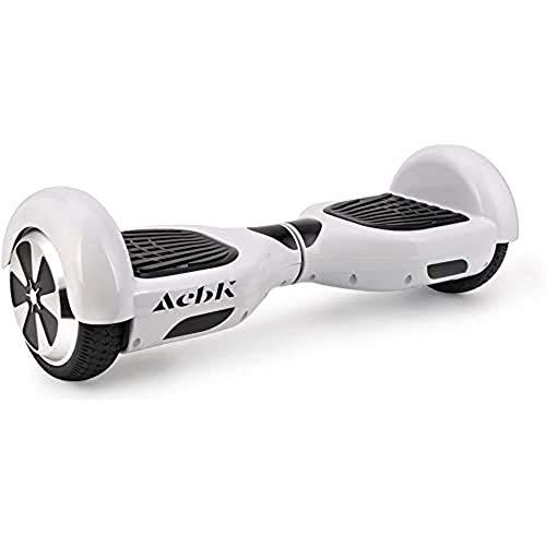 ACBK - Hoverboard Patinete Eléctrico Autoequilibrio con Ruedas de 6.5  (Altavoces Bluetooth con Luces Led integradas), Velocidad máxima: 12 km h - Autonomía 10 km, Blanco