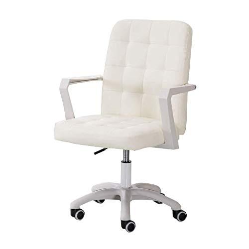 MGE Faux lederen bureaustoel bureaustoelen draaibare stoel op wielen, 8 cm verstelbare hoogte, nylon voet