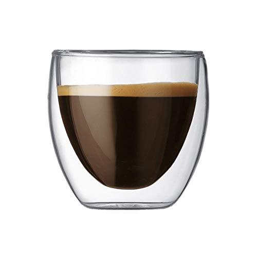 Linwei Glass Double-Wall Insulated Coffee Cup 80 ml for Drinking Milk Tea Fruit Juice Coffee Latte Espresso,80ml
