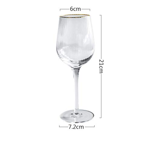 2 Stks Gouden Rand Streep Patroon Kristal Glas Cup Wijn Glas Champagne Bier Glas Beker Cocktail Cup Bar Party Thuis Bruiloft Drinkware 320 ml.