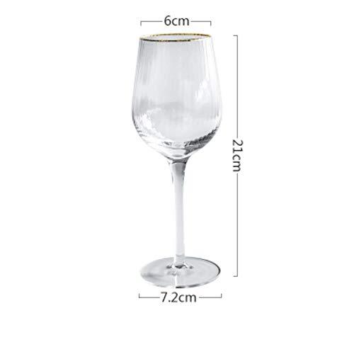 2 Stks Gouden Rand Streep Patroon Kristal Glas Cup Wijn Glas Champagne Bier Glas Beker Cocktail Cup Bar Party Thuis Bruiloft Drinkware 320 ml.