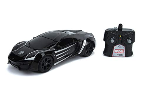 Jada Toys Marvel Avengers Black Panther Lykan Hypersport R/C, 1: 16 Scale with USB Charging, 2.4Ghz & Turbo Boost