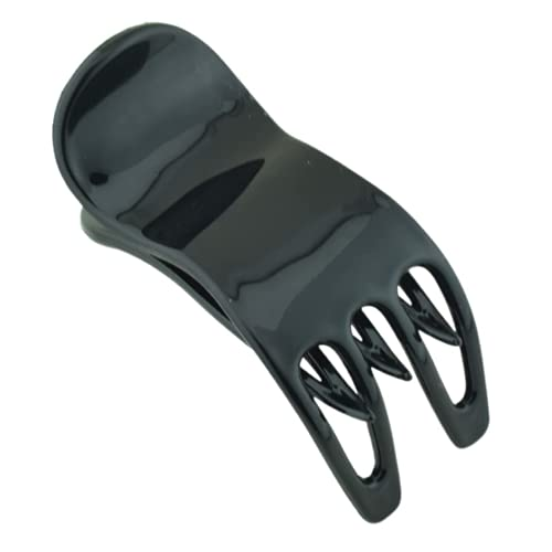 Parcelona French Simply Bear Paw Black Celluloid Medium Side Slide In Jaw Yoga Hair Claw Clip Clamp