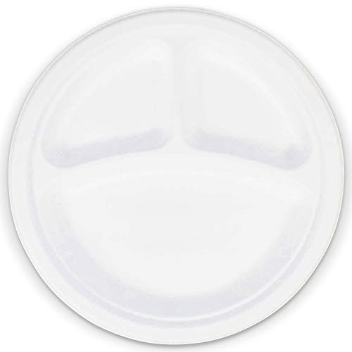 [125 Pack] 9 Inch Bagasse Compostable Plates - 3 Compartment Divided Plates, Round White Disposable Biodegradable Sugarcane, Heavy Duty Microwavable Paper Plastic Foam Alternative for Dinner Wedding